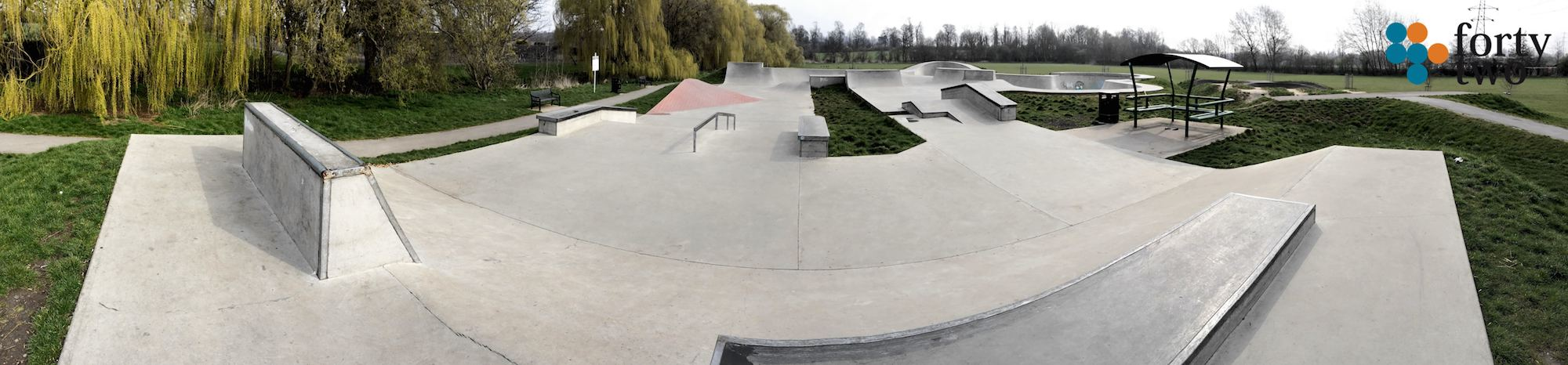 Panoramic view of Nottingham's Clifton skatepark street section.