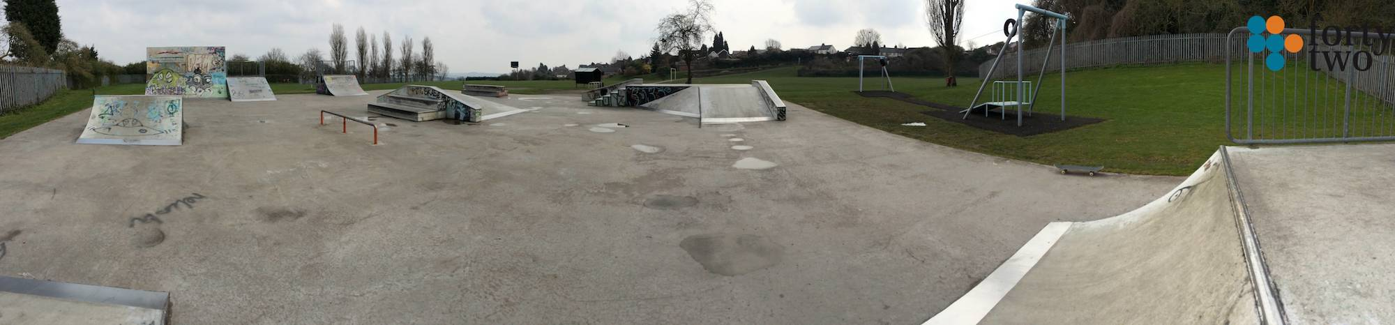 Panoramic View of Nottingham's Standhill skatepark View 1