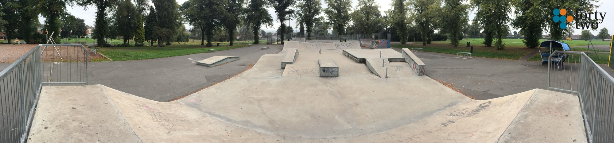 Panoramic view of Hucknall skatepark nottingham showing concrete street course