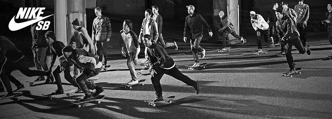 Nike SB Skate Shoes Banner Featuring the Nike SB Skateboarding Team.