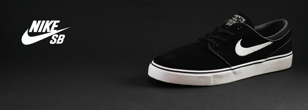 Nike SB Stefan Janoski Black White available in sizes 7UK to 12UK.