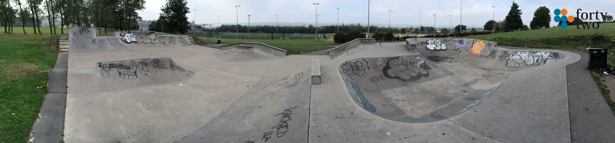 Panoramic view of Southglade skatepark at Southglade leisure centre. View shows the street area.