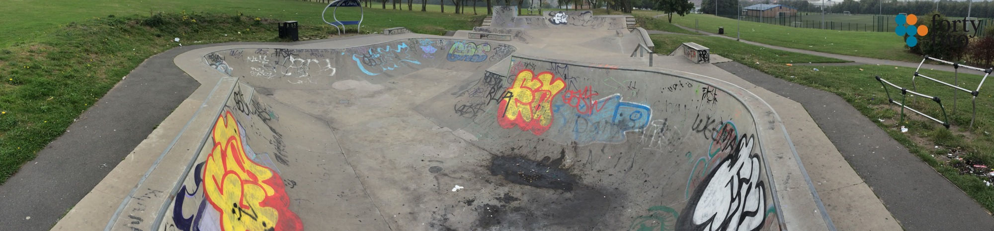 Panoramic view of Southglade skatepark Nottingham showing the bowl section.