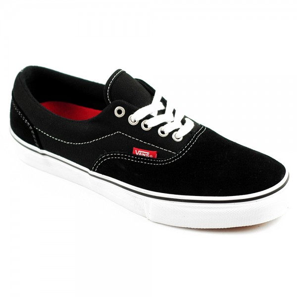 Vans Era Pro Black/White/Red Suede with Vans Duracap Toe Protection.