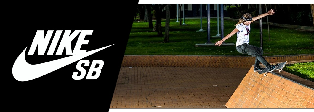 Nike SB shoes banner featuring Nike SB rider Leticia Bufoni