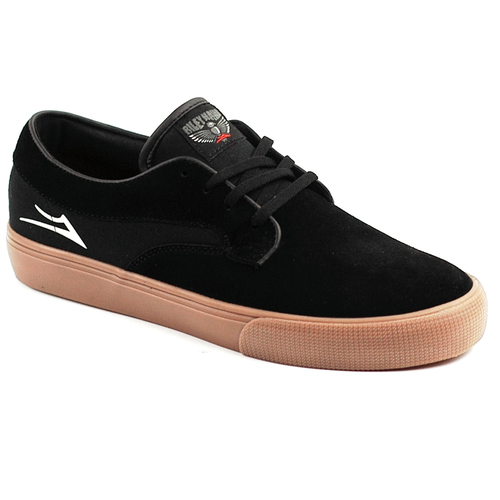 The new Lakai Riley Hawk skate shoe in black and gum suede available for £60.00 including free UK delivery.
