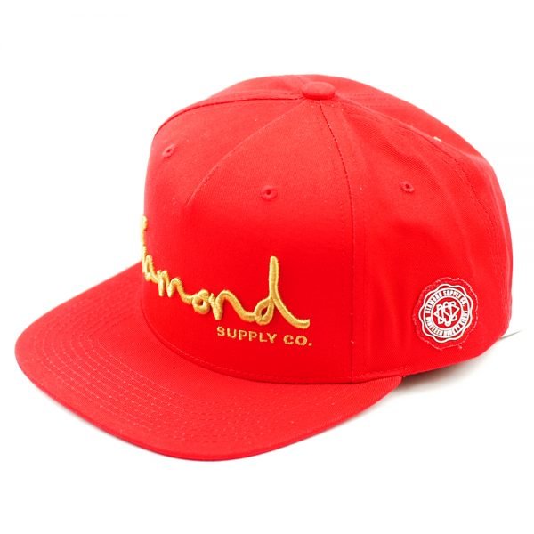 diamond-og-script-snapback-cap-red