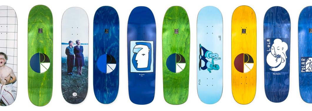 Polar skateboarding banner displaying the new Polar skateboards and decks.