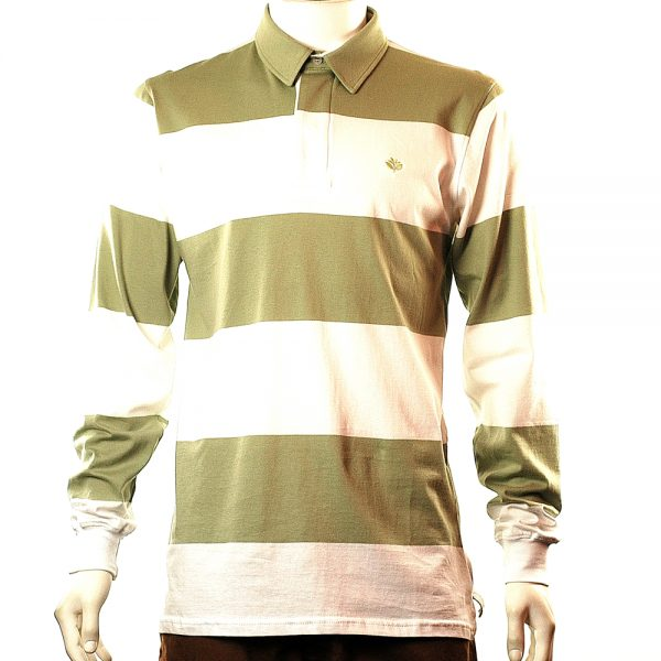 Magenta Striped Long Sleeve Polo Front