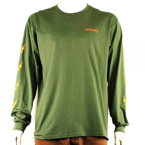WKND Ghost Bolts L-S Tee Olive Front