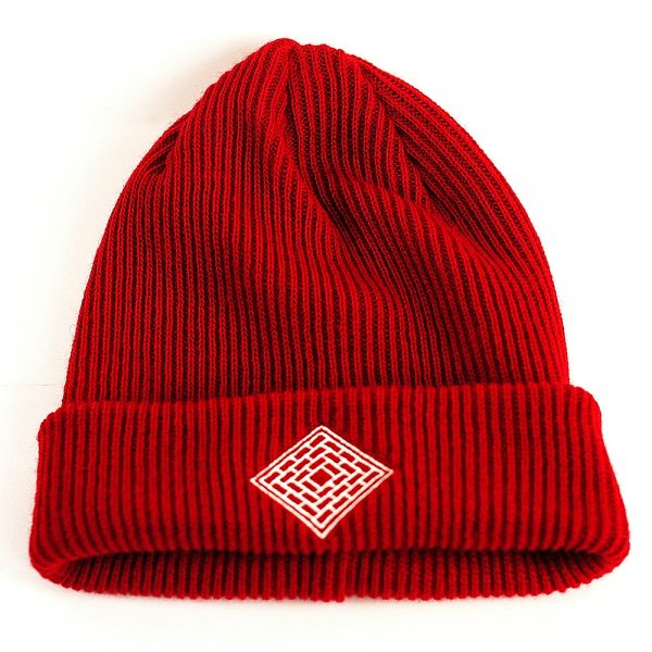 The National Skate Co Double Fold Logo Beanie Red