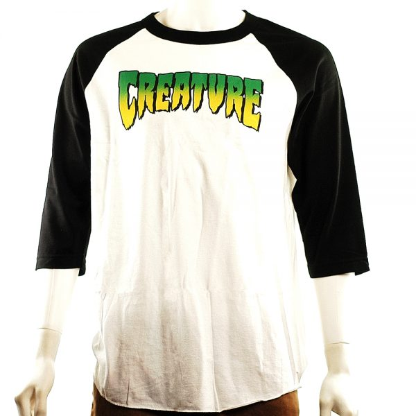 Creature 3-4 Sleeve Raglan Tee White-Black Main