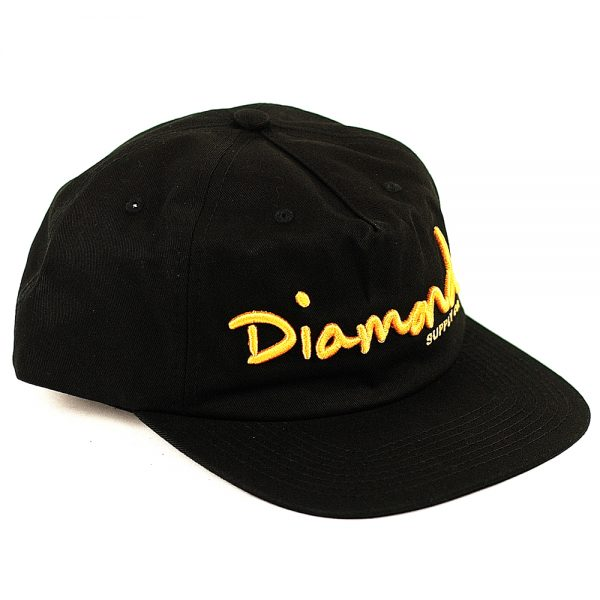 Diamond OG Script Unconstructed Cap Black