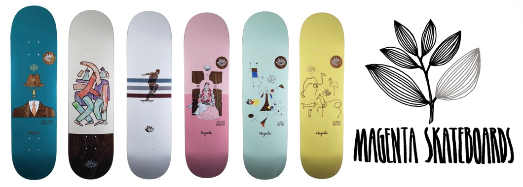 Magenta skateboards web banner featuring a selection of new Magenta decks for Autumn 2017 with a link direct to Forty Two skate shops magenta skateboards page.