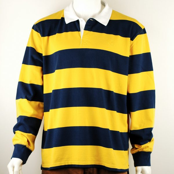 Polar Skate Co Block Stripe Polo Navy-Yellow