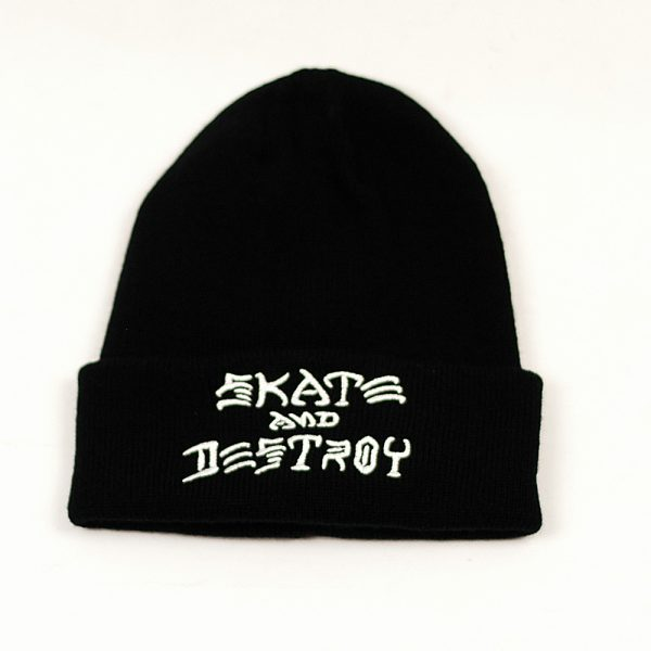Thrasher Skate And Destroy Embroidered Beanie Black