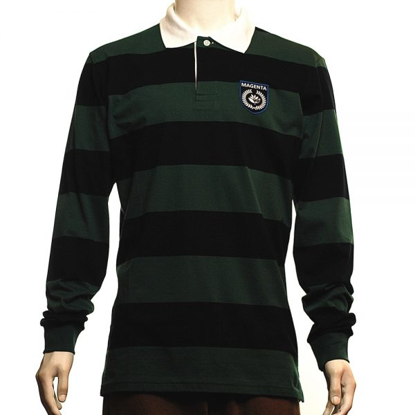 Magenta Rugby L-S Polo Navy-Green