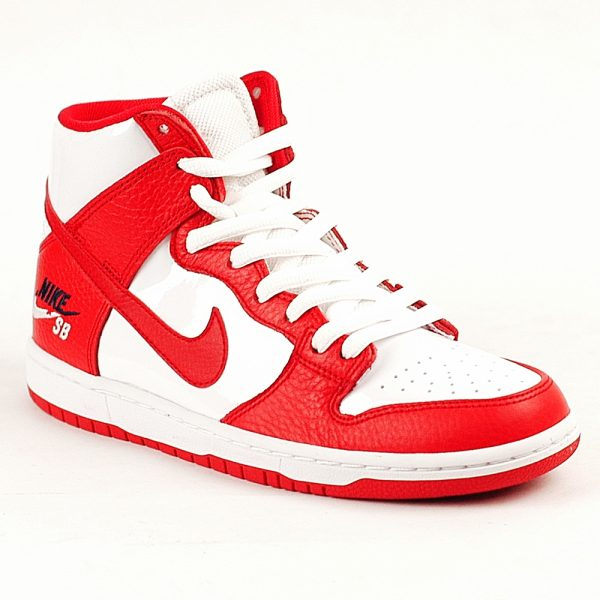 Nike SB Skate Shoes Dunk Hi Red White UK