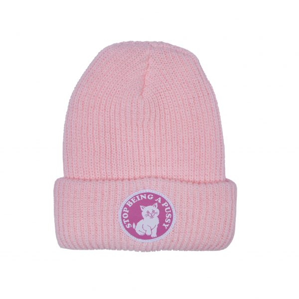 STOP BEING A PUSSY RIBBED BEANIE (PINK)
