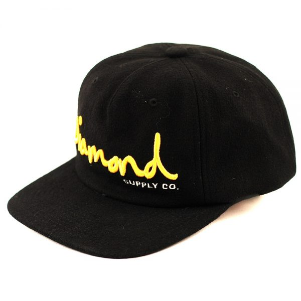 Diamond OG Script Unconstructed Cap Black:Gold