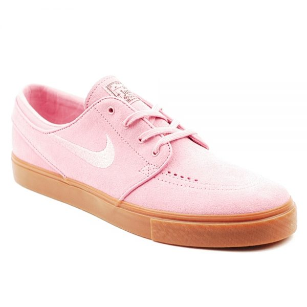 Nike SB Stefan Janoski Pro Skateboarding shoe in pink suede with a natural gum sole unit.