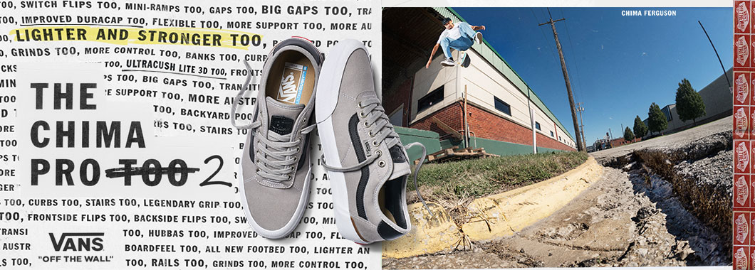 Banner depicting the new Vans China 2 Pro skateboarding shoe in grey drizzle black and white.
