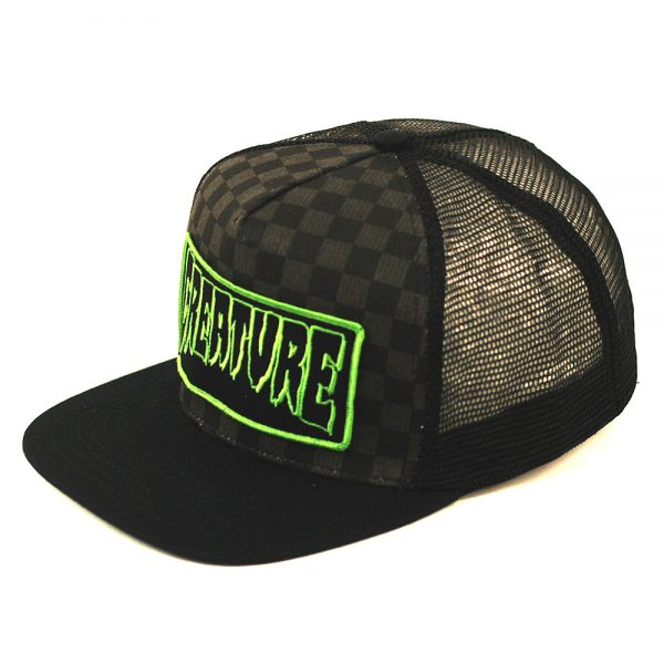 Creature Trucker Patch Logo Mesh Cap Checker Black