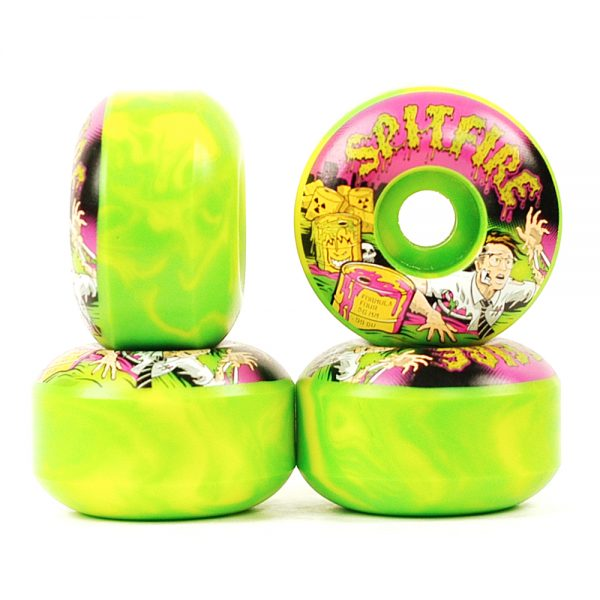 Spitfire Formula Four Wheels Toxic Apocalypse Afterburn 99D Green:Yellow 56mm