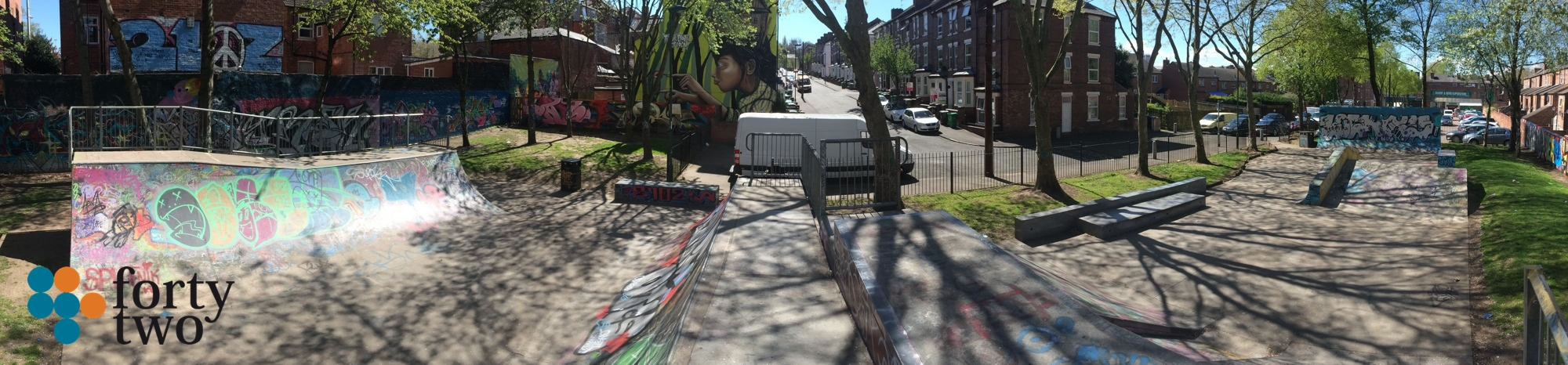 The beautiful Maple Street skatepark in Hyson Green Nottingham.