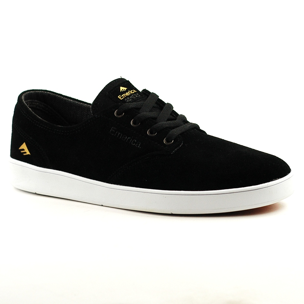 Emerica Romero Laced Black Suede with White Sole UK