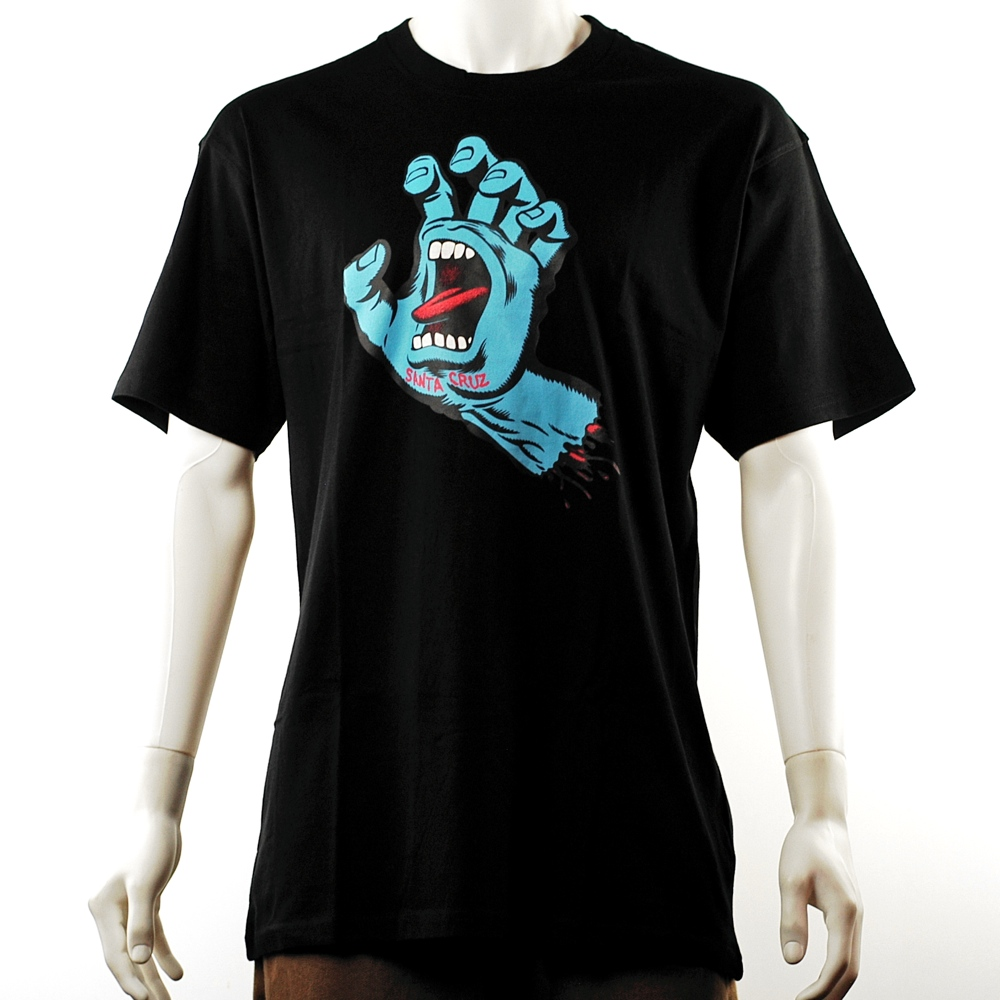 Sanat Cruz skateboards Screaming Hand Classic Tee in black with blue screaming hand print on chest