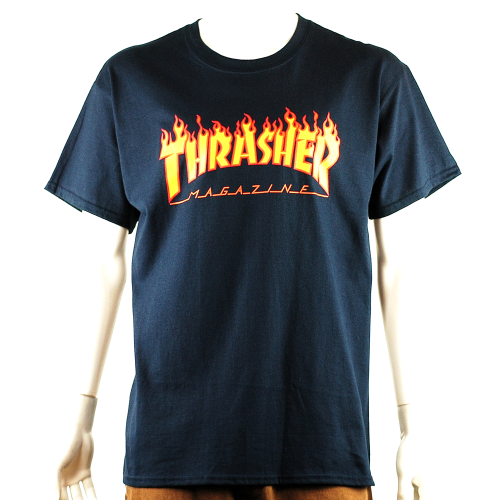 742db84249be Thrasher Flame Logo Tee Navy - Forty Two Skateboard Shop