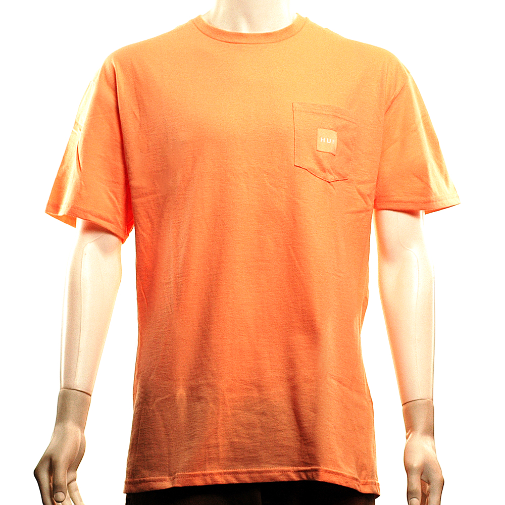 deeed800738 HUF Box Logo Pocket Tee Peach - Forty Two Skateboard Shop