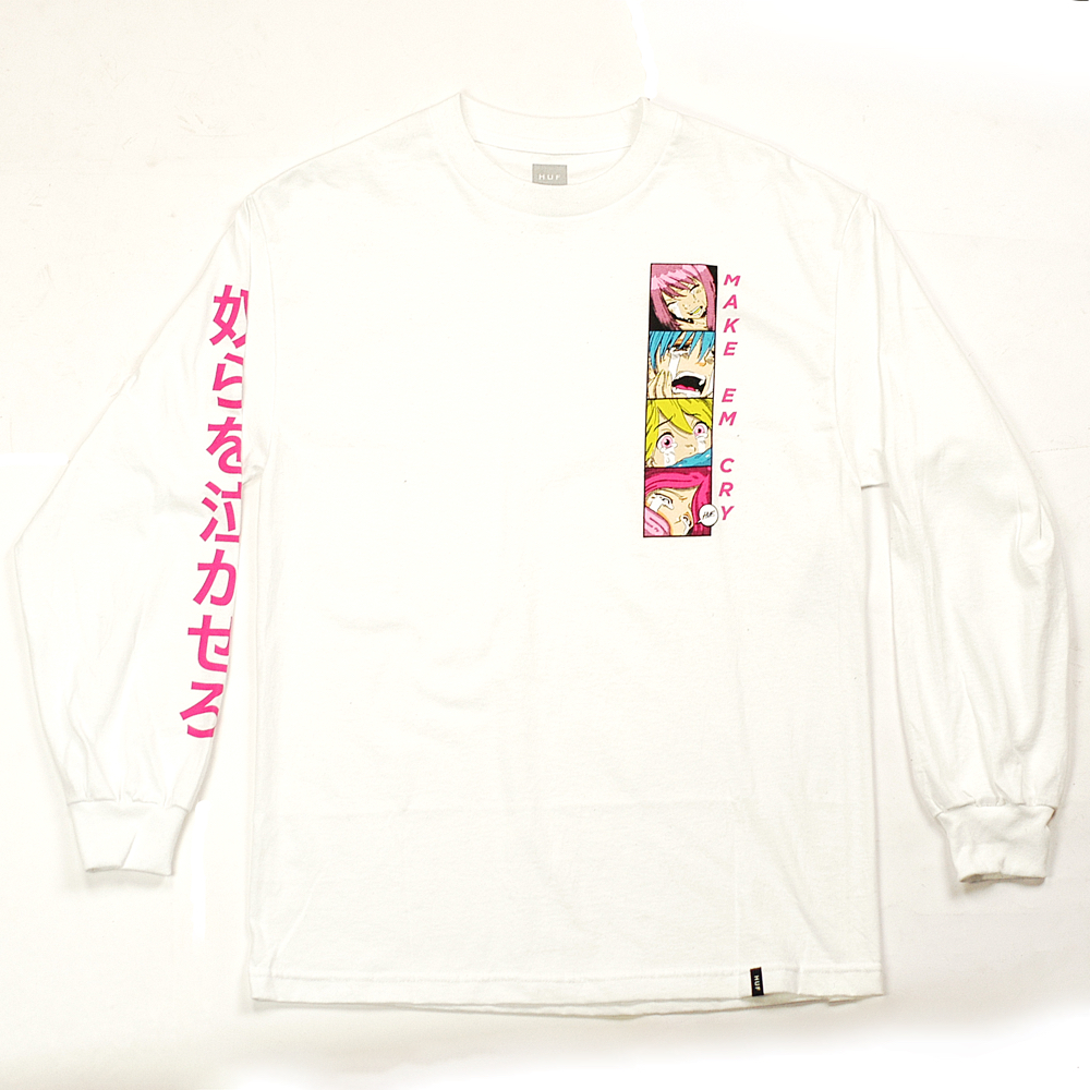 6f5bfc06a7a HUF Make Em Cry Longsleeve Tee White - Forty Two Skateboard Shop