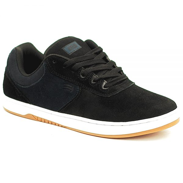 Etnies UK Chris Joslin Pro skate shoe in Black and navy suede with a white sole unit.
