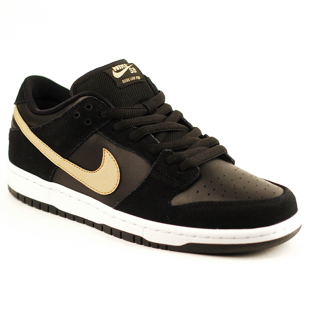 new arrival cdc18 67617 Nike SB Dunk Low Pro Black-White-Gold