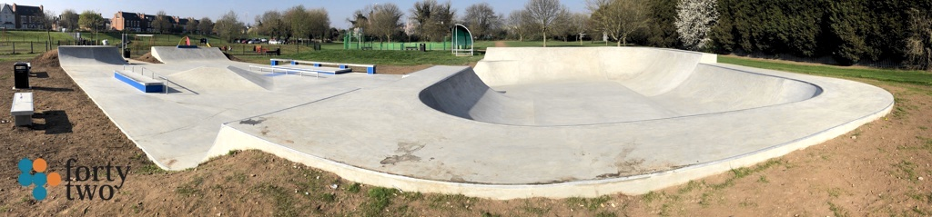 Lady Bay skateboarding park in Nottingham UK recently rebuilt by Maverick skateparks
