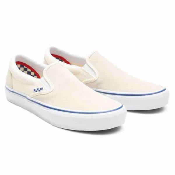 image of the new Vans Skate slip on skate shoe in off white uk