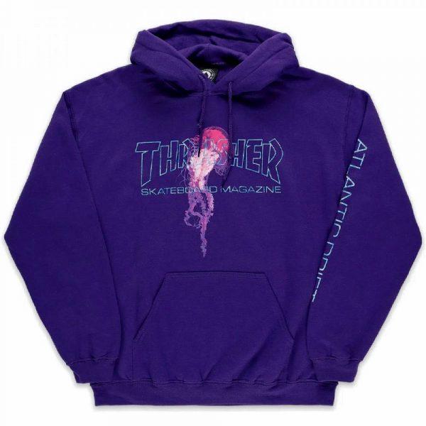 Thrasher Skateboard magazine hooded sweat shirt Atlantic drift in purple